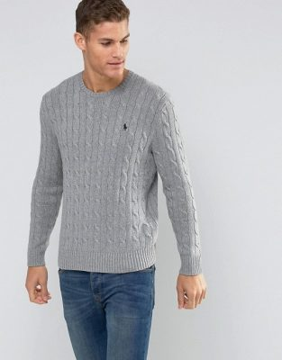 7101086 1 grey min 313x400 - Ralph Lauren Cable Knit Sweater